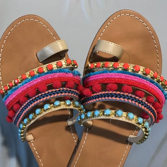 ecd9e9c1e3047 Mossimo Gladiator Sandals Pom Pom Boho Flip Flops